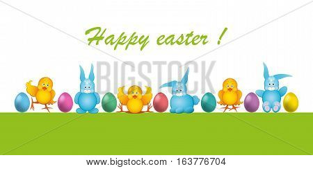 Easter card with chick and hare. Vector illustration.