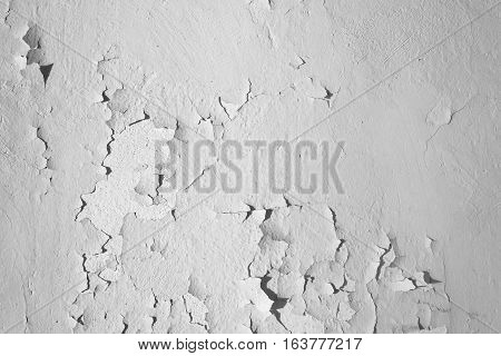 Natural background. Wall with a shabby and peeling paint and plaster. Contrast and volume white gray.
