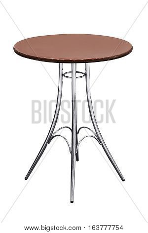 Wooden table with stainless steel legs isolated on white background work with path.