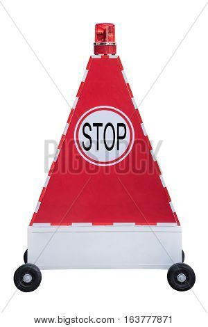 Stop sign on triangle light box on scroll wheel with red siren light on topwork with clipping path