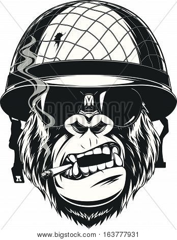 Vector illustration of a monkey American soldier smokes a cigarette in a helmet with glasses