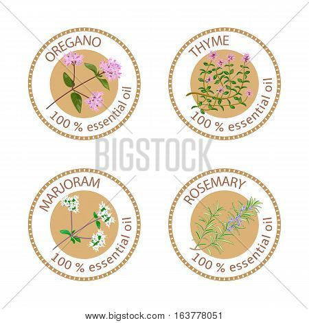 Set of 100 essential oils labels. Oregano, Thyme, marjoram, rosemary symbols. Logo collection. Vector illustration. Brown stamps, flat style. For stickers, price tags labels advertising banners