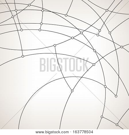 Abstract geometric pattern of the curves, unfinished lines, circles, abstract data type