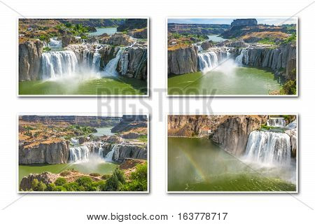 Aerial view collage of Shoshone Falls or Niagara of the West, reflected in Snake River, Idaho, United States. White backgroung.