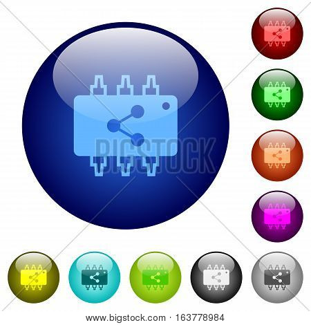 Connect hardware icons on round color glass buttons