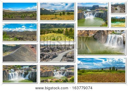 Collage of several landmark locations: Craters of the Moon, Idaho Falls, Sawtooth National Forest in Idaho, United States, isolated on white background.