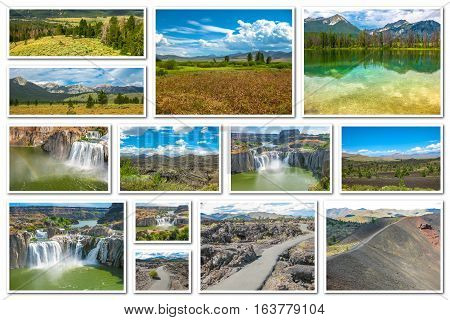 Collage on white background of different landmark locations in Idaho, United States.