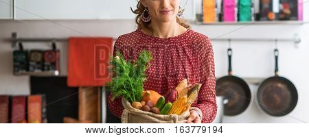 Closeup On Young Housewife With Local Market Purchases In Kitch