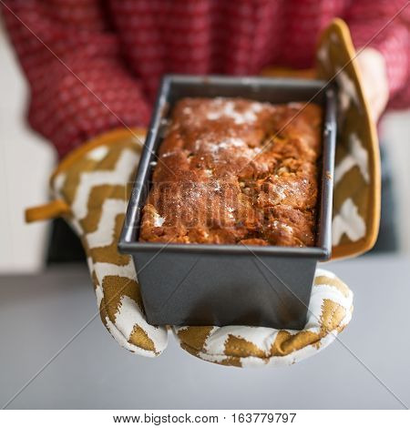 Closeup On Young Housewife Showing Baking Dish With Bread