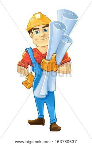 builder or handyman in helmet with construction drawings. Color Vector illustration isolate on white background