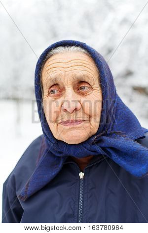 Portrait of a smiling retired woman on wintertime