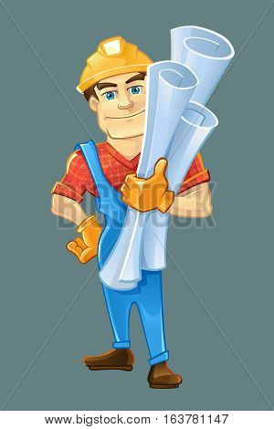 builder or handyman in helmet with construction drawings. Color Vector illustration isolate on dark background