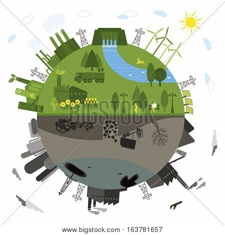Landscape Of Wind Turbine And Blue Sky Background. Concept For Wild Energy Electricity Alternative E