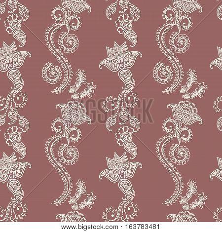 Hand drawn seamless pattern of henna flower lotus elements, yoga design.Mehendi Tattoo Doodles collection, monochrome, meditation aura.Vector illustration.