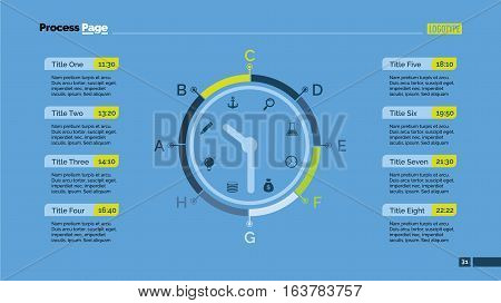 Day schedule slide template. Business data. Event, clock, design. Creative concept for infographic. For topics like management, education, marketing.