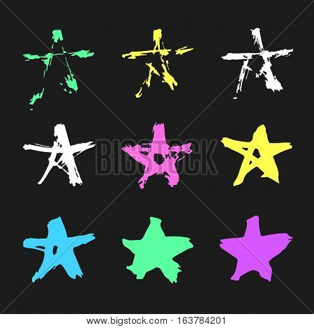 Set of hand drawn paint object for design use. Acid colors on black background. Abstract brush drawing. Vector art illustration grunge splashes, drops, stains, frames, arrows, hearts, stars, blot