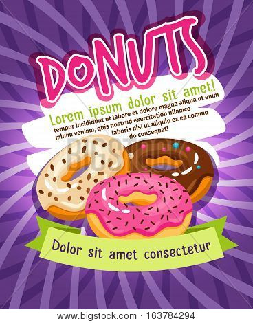 Chocolate and sugar glazed donut bakery poster. Donuts food advertising vector illustration. Tasty glazed donuts snack