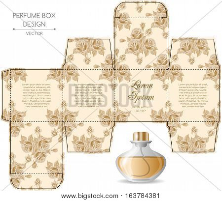 Perfume box design with die cut. Vector illustration