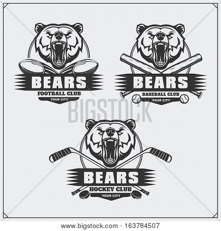 Football, baseball and hockey badges and labels. Sport club emblems with bear.