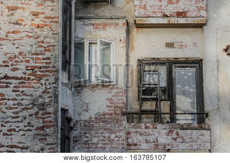 Bucharest Romania 14 February 2016: Old degraded building in Bucharest.
