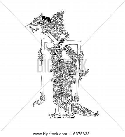 Batari Gangga, a character of traditional puppet show, wayang kulit from java indonesia.
