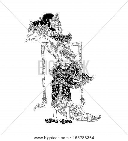 Dewi Kaniraras, a character of traditional puppet show, wayang kulit from java indonesia.