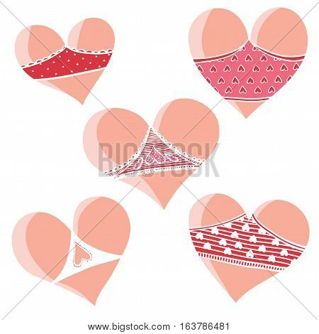 Vector set of hearts. Valentine Day. Hearts like cute asses. Collection of stylized hearts in shorts.