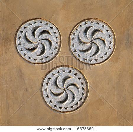 Architecture uzbek details three circles on a wall, temurid symbol