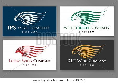 Winged logo company card set. Vector business label with wing. Business card with logo in shape of wing illustration