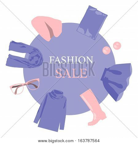Round banner sales women's clothing. Fashionable collection: hat, sweater, scarf, handbag, high boots. Rose quartz and serenity