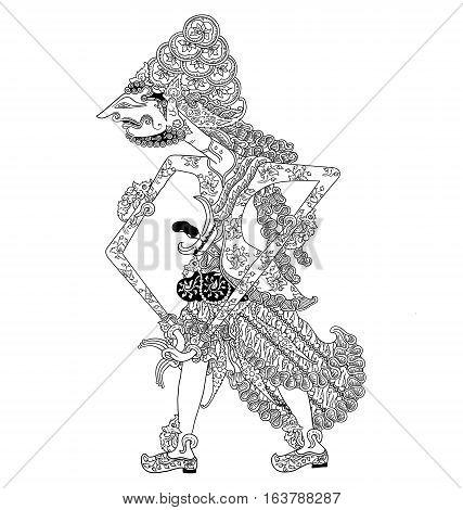 Batara Panyarikan, a character of traditional puppet show, wayang kulit from java indonesia.