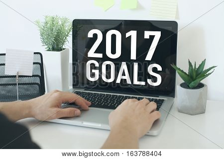 Goals resolutions and aspirations for new year 2017 concept