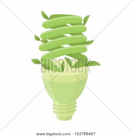 Ecological fluorescent lamp icon in cartoon design isolated on white background. Bio and ecology symbol stock vector illustration.