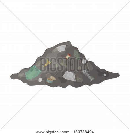 Dump icon in cartoon design isolated on white background. Bio and ecology symbol stock vector illustration.