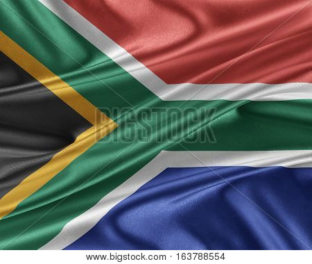 South Africa flag. Flag with a beautiful glossy silk texture. 3D illustration.