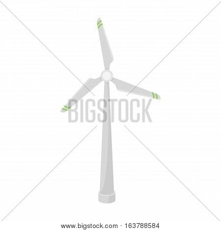 Wind energy turbine icon in cartoon design isolated on white background. Bio and ecology symbol stock vector illustration.