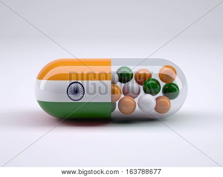 Pill With Indian Flag Wrapped Around It And Colored Balls Insid