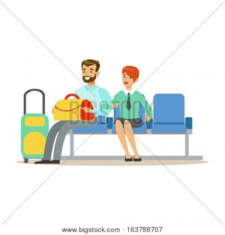 Couple Waiting For A Flight In Waiting Area, Part Of Airport And Air Travel Related Scenes Series Of Vector Illustrations. Smiling Cartoon Character In The Airport Building Travelling By Plane.