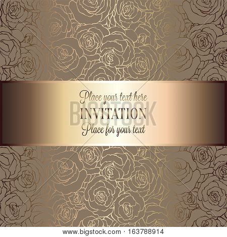 Abstract Background With Roses, Luxury Beige And Gold Vintage Tracery Made Of Roses, Damask Floral W