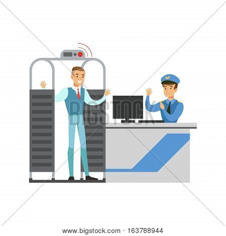 Full Body Scan In Security Check, Part Of Airport And Air Travel Related Scenes Series Of Vector