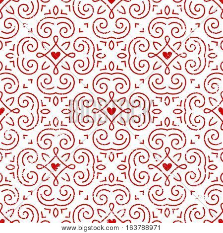 Seamless ornate pattern with hearts. Retro background for Valentines Day, wedding, etc. EPS10 vector illustration.