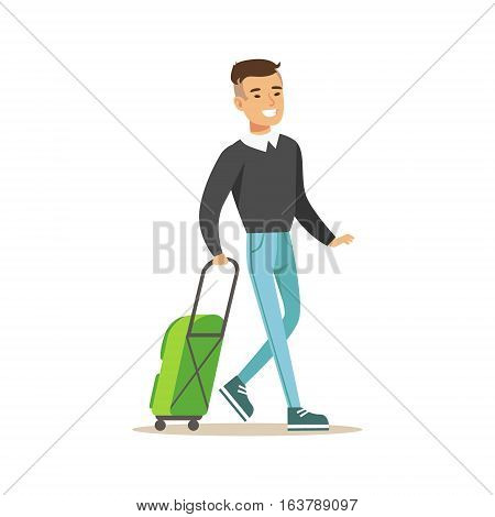 Man Arriving With Green Suitcase, Part Of Airport And Air Travel Related Scenes Series Of Vector Illustrations. Smiling Cartoon Character In The Airport Building Travelling By Plane.