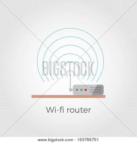 Wi-fi router standing on table flat design icon concept. Isolated on white background. Close-up illustration with signal waves.
