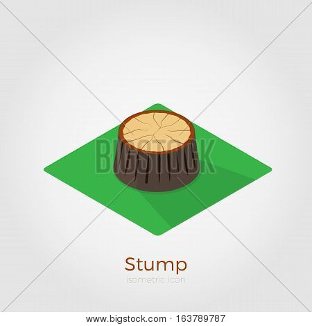 Cutted down old tree stump on green square. Vector illustration in isometric style. Stylish flat colors. Forest felling process illustration.