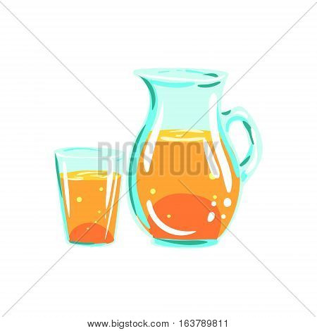 Apple Juice Pitcher And Glass Funky Hand Drawn Fresh Fruit Cartoon Illustration. Radiant Glossy Summer Fruit, Heathy Diet Food Item Vector Object.