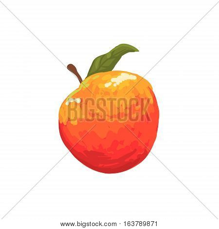 Red Garden Apple Funky Hand Drawn Fresh Fruit Cartoon Illustration. Radiant Glossy Summer Fruit, Heathy Diet Food Item Vector Object.