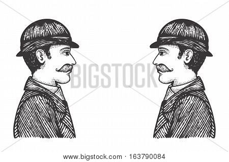 Vintage Engraved Men