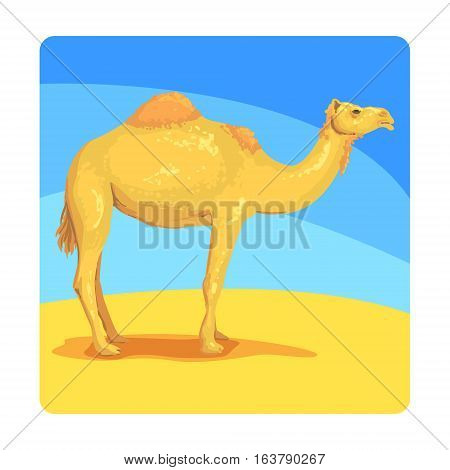Camel Famous Touristic Attraction Of United Arab Emirates. Traditional Tourism Symbol Of Arabic Country. Colorful Vector Illustration With Travelling Destination Well-Known Object.