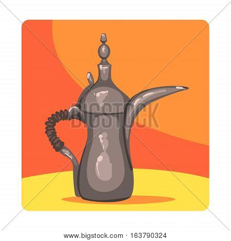 Ancient Oil Lamp Famous Touristic Attraction Of United Arab Emirates. Traditional Tourism Symbol Of Arabic Country. Colorful Vector Illustration With Travelling Destination Well-Known Object.