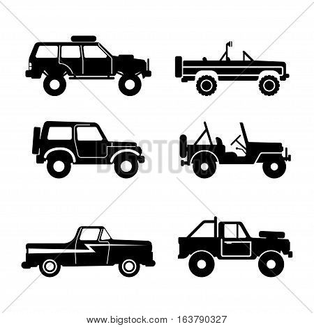 set 4x4 Utility Vehicle SUV Off-road Vector Illustration